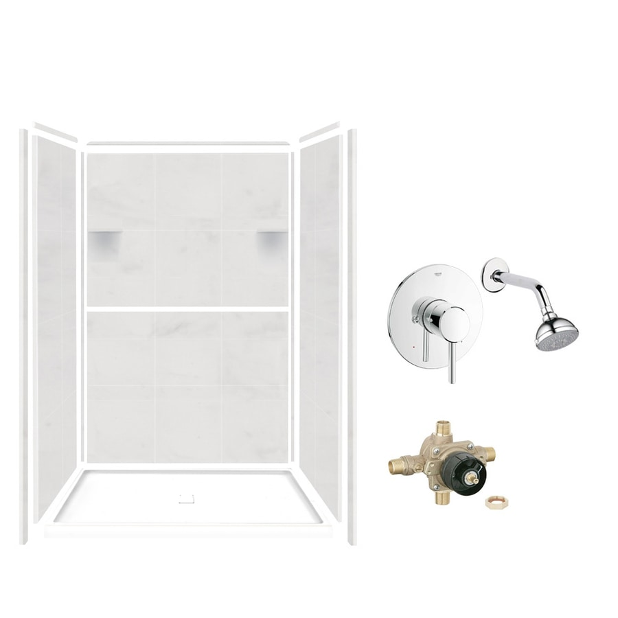 Style Selections White Carrara Solid Surface Wall and Floor 5-Piece Alcove Shower Kit (Common: 34-in x 48-in; Actual: 75-in x 34-in x 48-in)