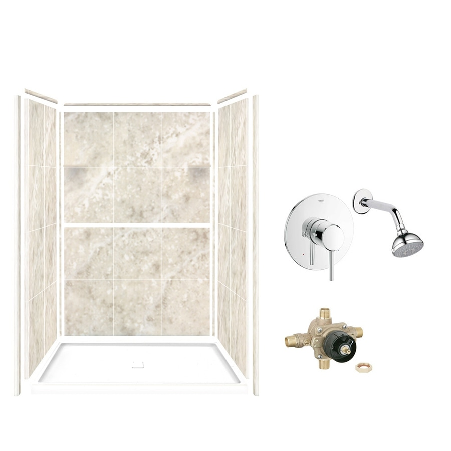 Style Selections Silver Mocha Solid Surface Wall and Floor 5-Piece Alcove Shower Kit (Common: 34-in x 48-in; Actual: 75-in x 34-in x 48-in)