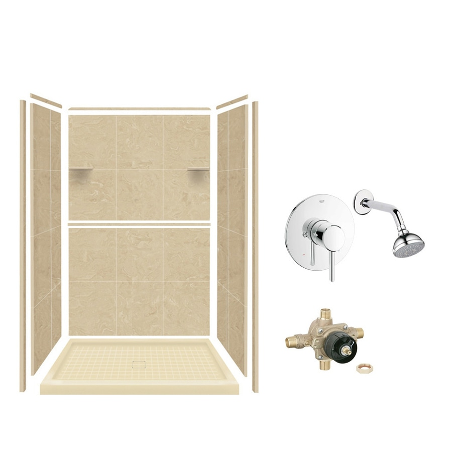 Style Selections Almond Sky Solid Surface Wall and Floor 5-Piece Alcove Shower Kit (Common: 34-in x 48-in; Actual: 75-in x 34-in x 48-in)