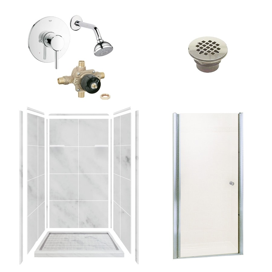 Style Selections White Carrara Solid Surface Wall and Floor 6-Piece Alcove Shower Kit (Common: 36-in x 36-in; Actual: 75-in x 36-in x 36-in)
