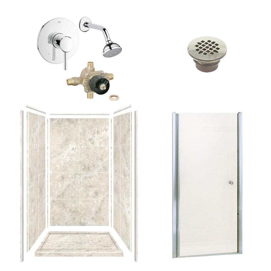Style Selections Silver Mocha Solid Surface Wall and Floor 6-Piece Alcove Shower Kit (Common: 36-in x 36-in; Actual: 75-in x 36-in x 36-in)