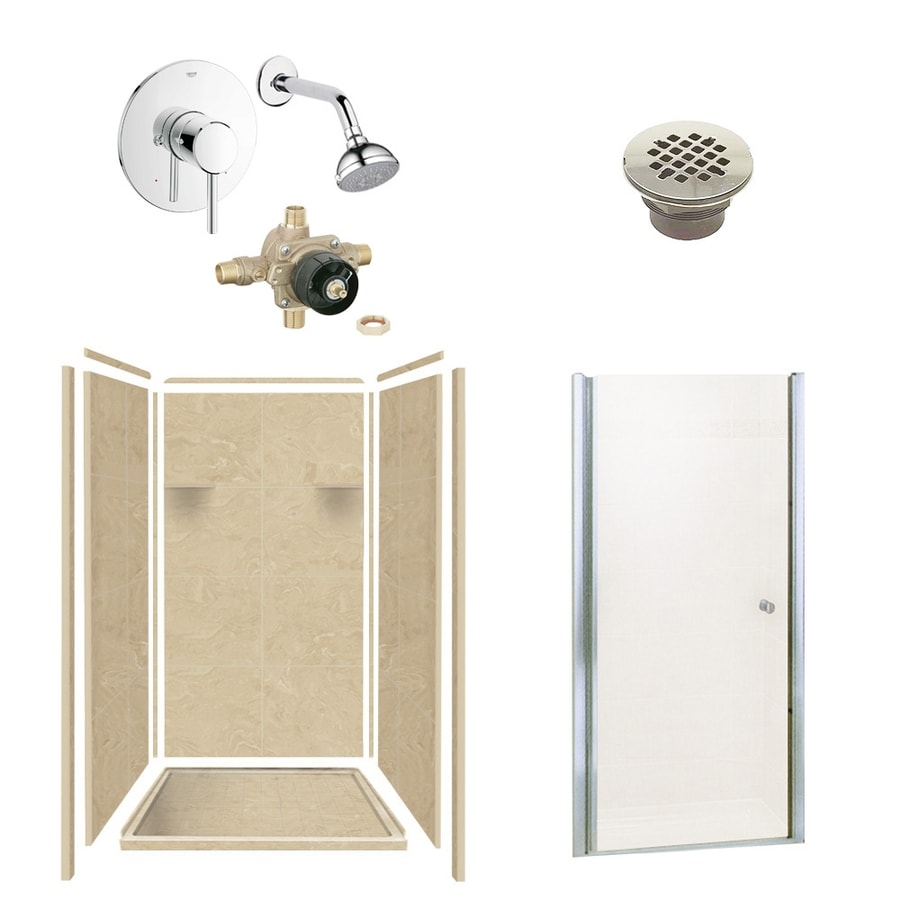 Style Selections Almond Sky Solid Surface Wall and Floor 6-Piece Alcove Shower Kit (Common: 36-in x 36-in; Actual: 75-in x 36-in x 36-in)