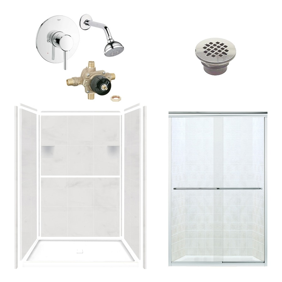 Style Selections White Carrara 6-Piece Alcove Shower Kit (Common: 34-in x 48-in; Actual: 34-in x 48-in)