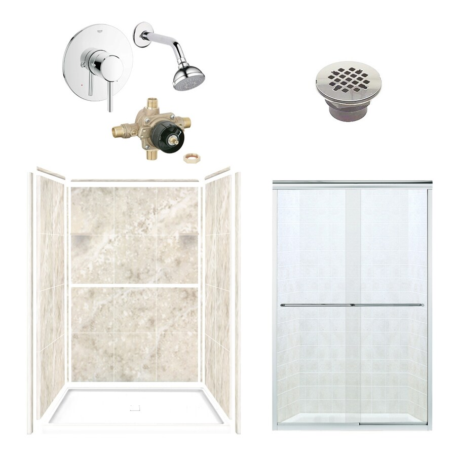 Style Selections Silver Mocha Solid Surface Wall and Floor 6-Piece Alcove Shower Kit (Common: 34-in x 48-in; Actual: 75-in x 34-in x 48-in)