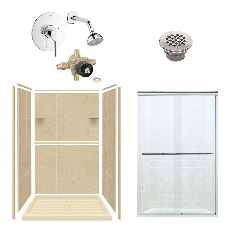 Style Selections Almond Sky Solid Surface Wall and Floor 6-Piece Alcove Shower Kit (Common: 34-in x 48-in; Actual: 75-in x 34-in x 48-in)