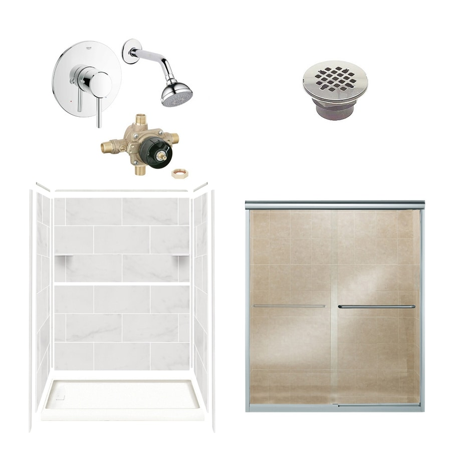 Style Selections White Carrara 6-Piece Alcove Shower Kit (Common: 32-in x 60-in; Actual: 36-in x 60-in)