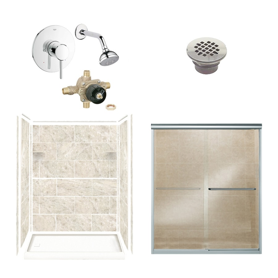 Style Selections Silver Mocha Solid Surface Wall and Floor 6-Piece Alcove Shower Kit (Common: 32-in x 60-in; Actual: 75-in x 36-in x 60-in)