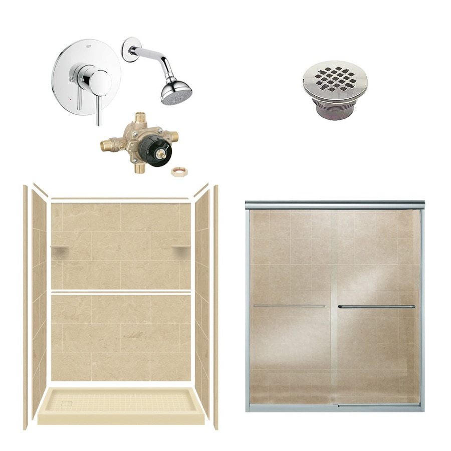 Style Selections Almond Sky Solid Surface Wall and Floor 6-Piece Alcove Shower Kit (Common: 32-in x 60-in; Actual: 75-in x 36-in x 60-in)