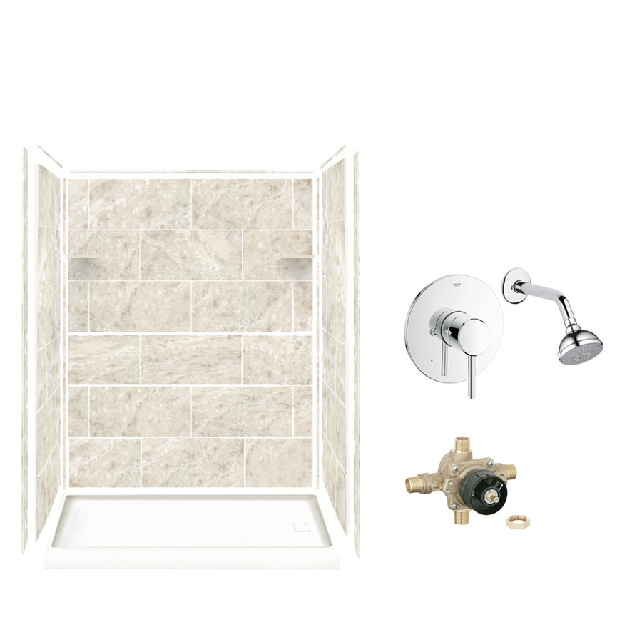 Style Selections Silver Mocha Solid Surface Wall and Floor 5-Piece Alcove Shower Kit (Common: 32-in x 60-in; Actual: 75-in x 36-in x 60-in)