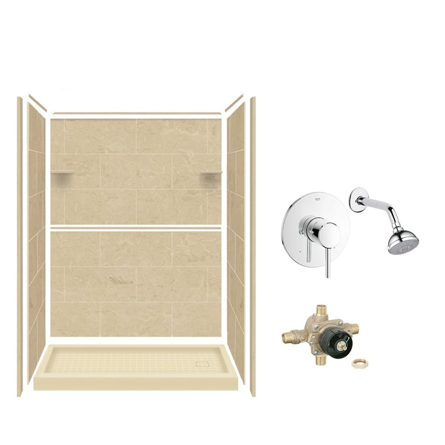 Style Selections Almond Sky 5-Piece Alcove Shower Kit (Common: 32-in x 60-in; Actual: 36-in x 60-in)