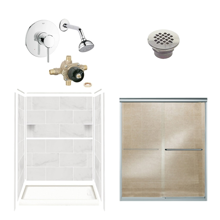 Style Selections White Carrara Solid Surface Wall and Floor 6-Piece Alcove Shower Kit (Common: 32-in x 60-in; Actual: 75-in x 36-in x 60-in)
