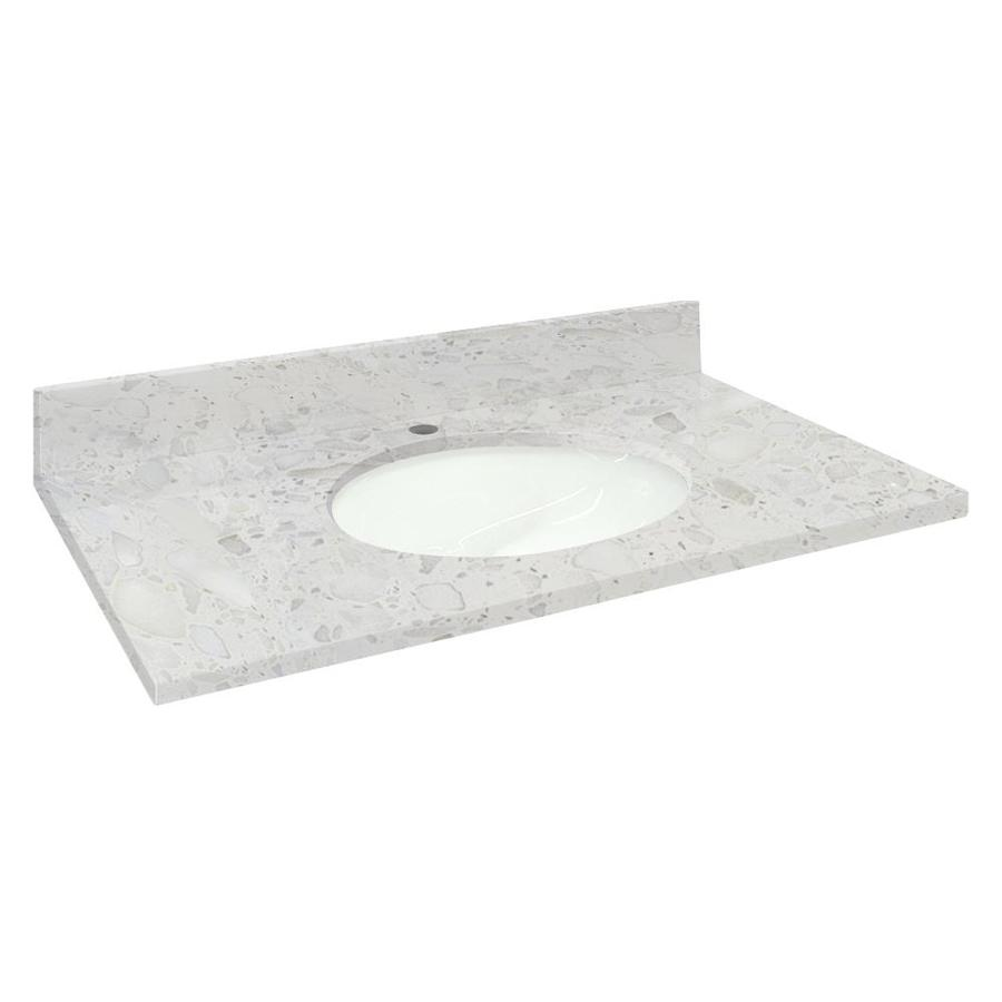 Transolid Crystal Sands Natural Marble Undermount Single Sink Bathroom Vanity Top (Common: 61-in x 22-in; Actual: 61-in x 22.2500-in)