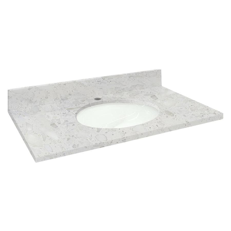 Transolid Crystal Sands Natural Marble Undermount Single Sink Bathroom Vanity Top (Common: 25-in x 19-in; Actual: 25-in x 19.25-in)