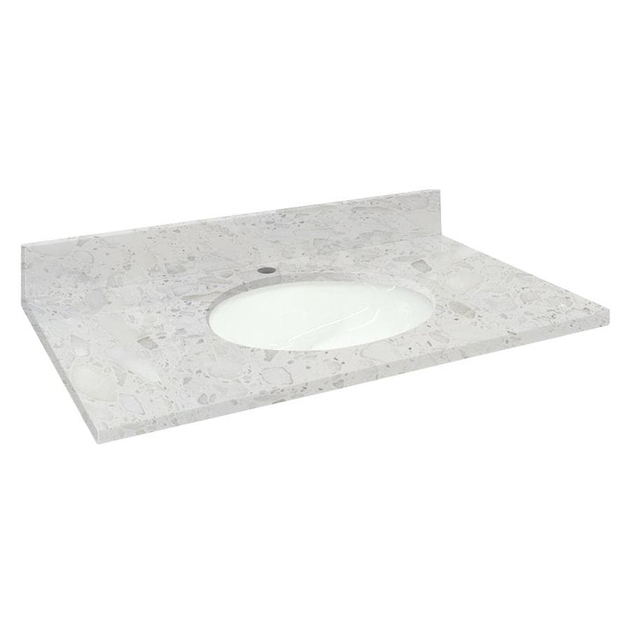 Shop Transolid Crystal Sands Natural Marble Undermount Single Sink Bathroom Vanity Top Common