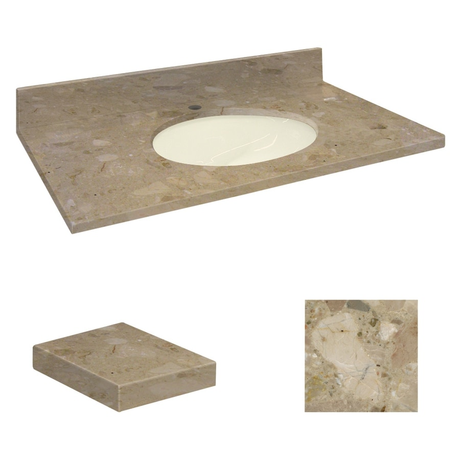 Transolid Java Coast Natural Marble Undermount Single Sink Bathroom Vanity Top (Common: 37-in x 22-in; Actual: 37-in x 22.25-in)