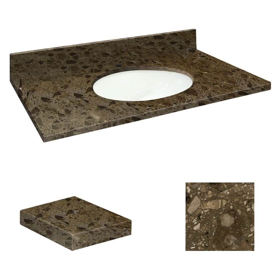 Transolid Cacao Nougat Natural Marble Undermount Single Sink Bathroom Vanity Top (Common: 37-in x 19-in; Actual: 37-in x 19.25-in)