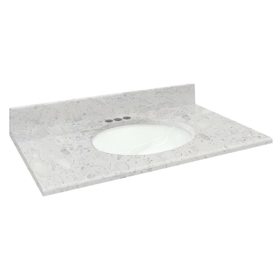 Transolid Crystal Sands Natural Marble Undermount Single Sink Bathroom Vanity Top (Common: 31-in x 22-in; Actual: 31-in x 22.2500-in)