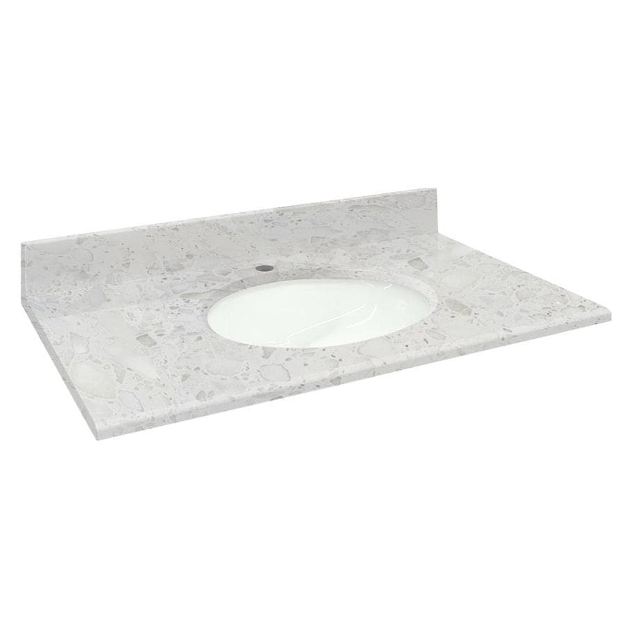 Transolid Crystal Sands Natural Marble Undermount Single Sink Bathroom Vanity Top (Common: 37-in x 22-in; Actual: 37-in x 22.2500-in)