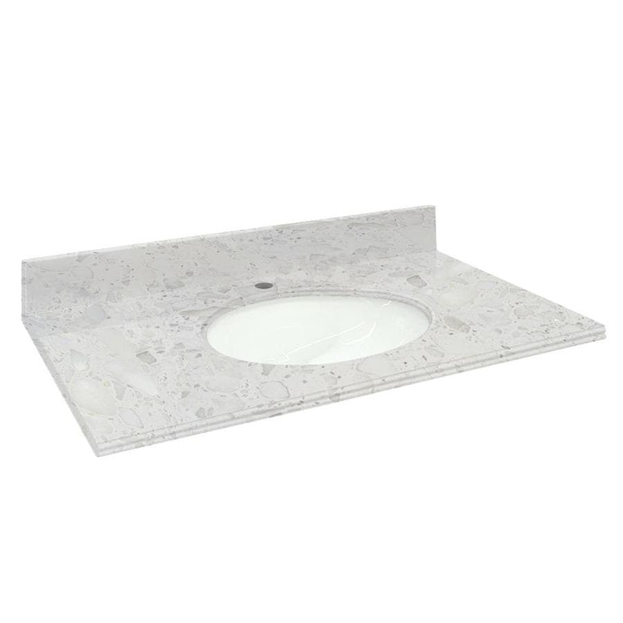 Transolid Crystal Sands Natural Marble Undermount Single Sink Bathroom Vanity Top (Common: 25-in x 22-in; Actual: 25-in x 22.2500-in)
