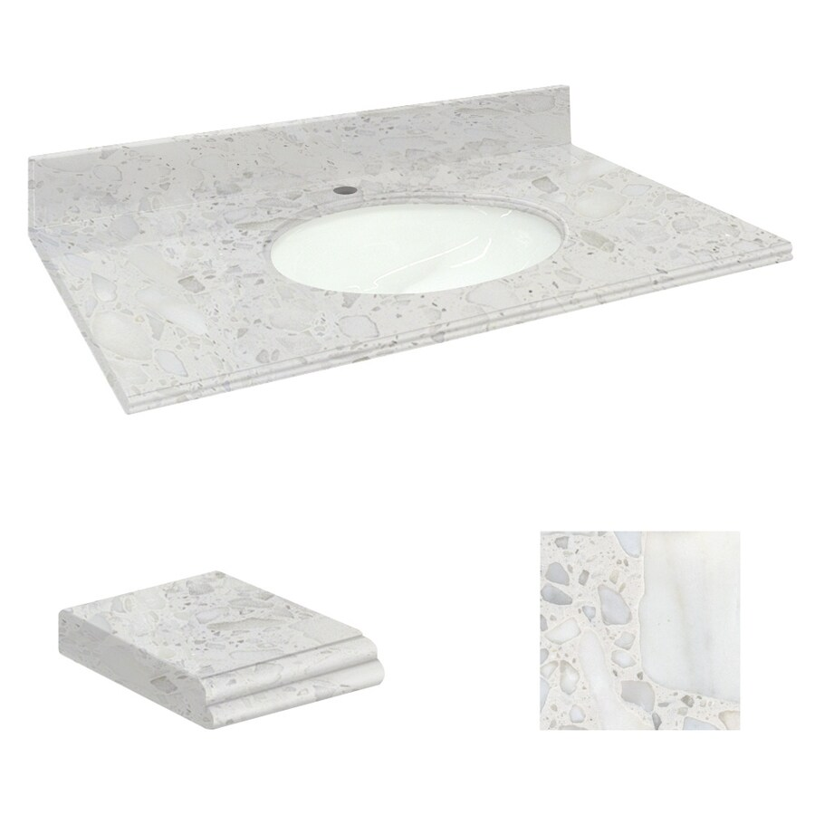 Transolid Crystal Sands Natural Marble Undermount Single Sink Bathroom Vanity Top (Common: 43-in x 22-in; Actual: 43-in x 22.25-in)