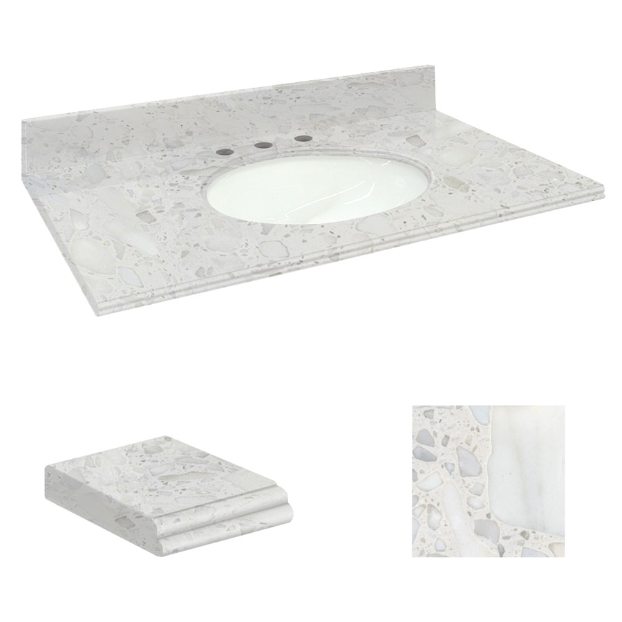 Transolid Crystal Sands Natural Marble Undermount Single Sink Bathroom Vanity Top (Common: 49-in x 22-in; Actual: 49-in x 22.2500-in)