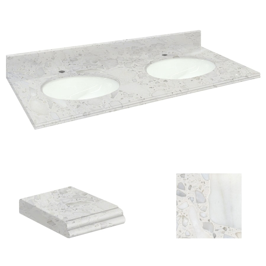 Transolid Crystal Sands Natural Marble Undermount Double Sink Bathroom Vanity Top (Common: 61-in x 22-in; Actual: 61-in x 22.2500-in)