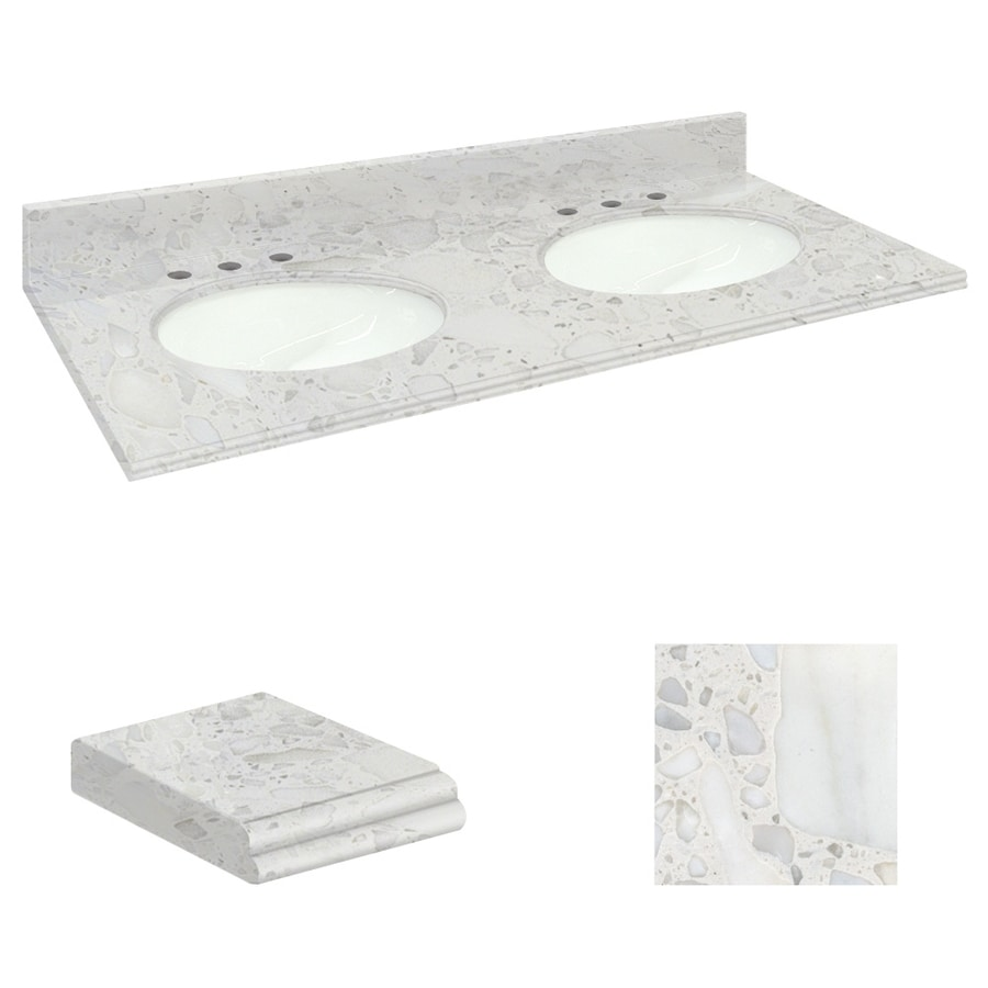 Transolid Crystal Sands Natural Marble Undermount Double Sink Bathroom Vanity Top (Common: 61-in x 22-in; Actual: 61-in x 22.25-in)