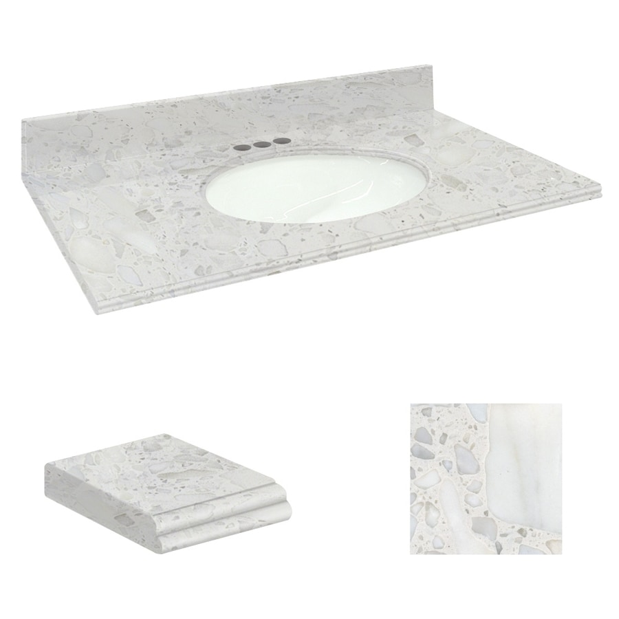 Transolid Crystal Sands Natural Marble Undermount Bathroom Vanity Top (Common: 25-in x 19-in; Actual: 25-in x 19.25-in)