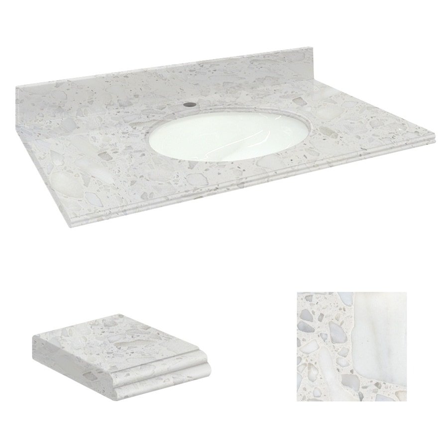 Transolid Crystal Sands Natural Marble Undermount Single Sink Bathroom Vanity Top (Common: 31-in x 19-in; Actual: 31-in x 19.25-in)