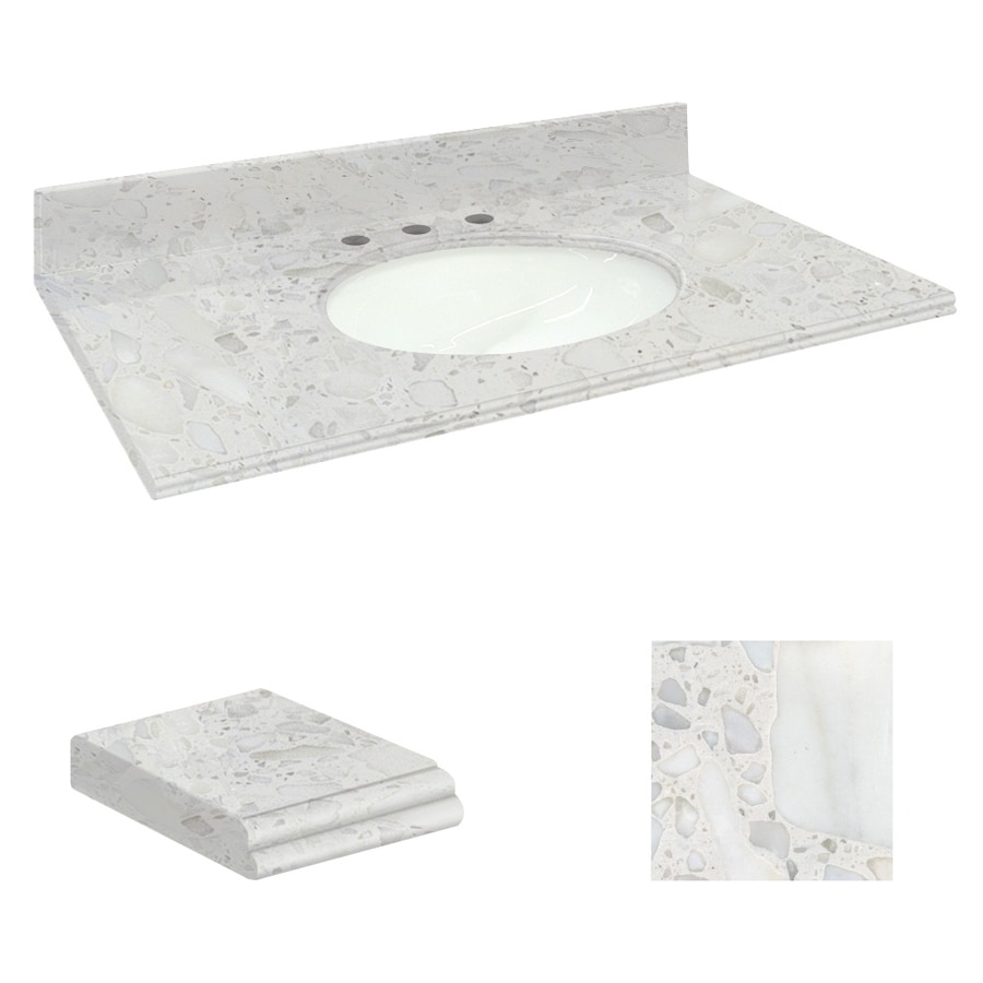Transolid Crystal Sands Natural Marble Undermount Single Sink Bathroom Vanity Top (Common: 49-in x 19-in; Actual: 49-in x 19.2500-in)