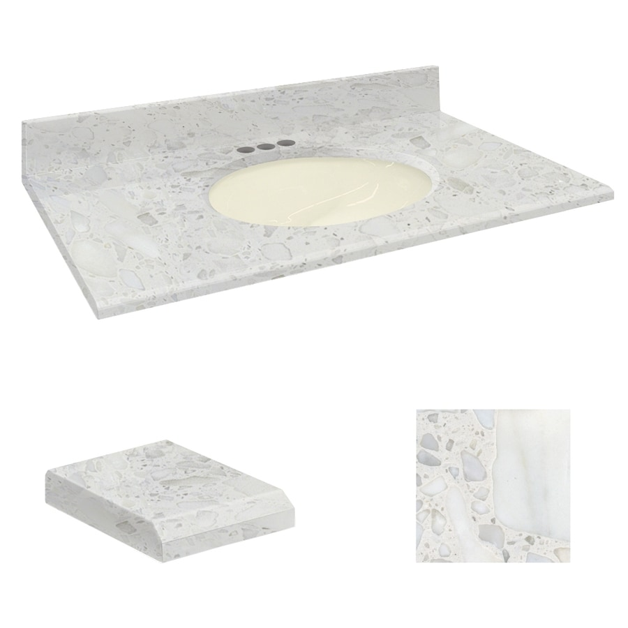 Transolid Crystal Sands Natural Marble Undermount Single Sink Bathroom Vanity Top (Common: 37-in x 19-in; Actual: 37-in x 19.25-in)