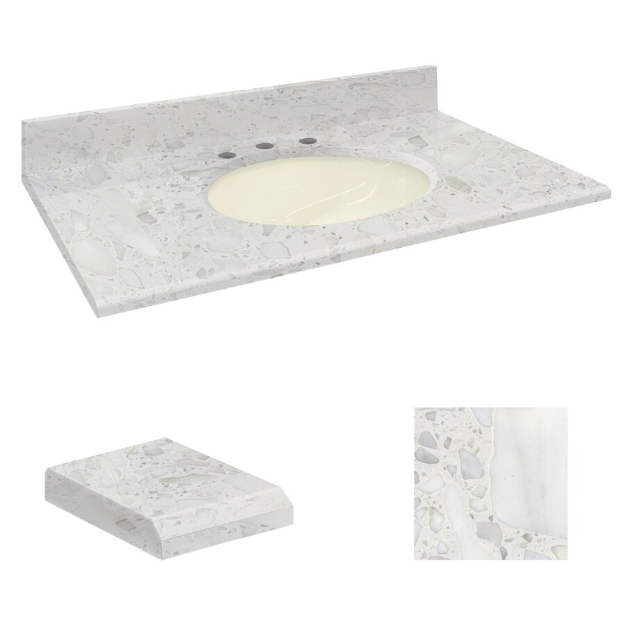 Transolid Crystal Sands Natural Marble Undermount Single Sink Bathroom Vanity Top (Common: 37-in x 22-in; Actual: 37-in x 22.25-in)