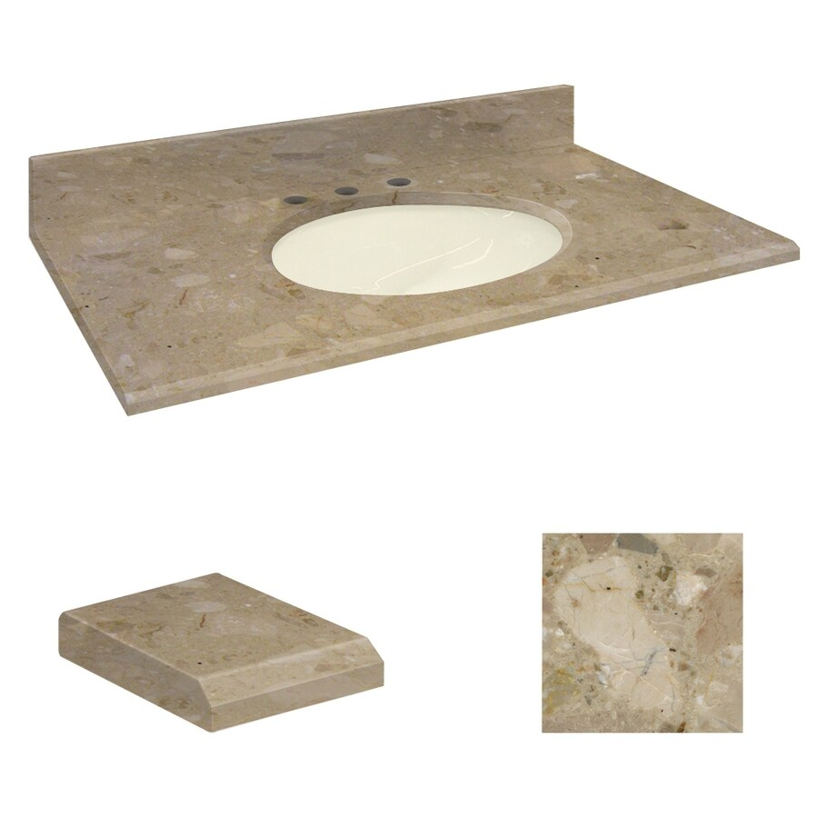 Transolid Java Coast Natural Marble Undermount Single Sink Bathroom Vanity Top (Common: 31-in x 22-in; Actual: 31-in x 22.25-in)