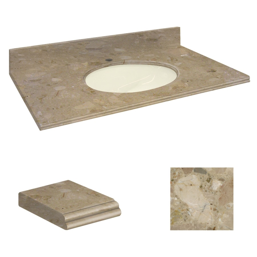 Transolid Java Coast Natural Marble Undermount Single Sink Bathroom Vanity Top (Common: 43-in x 22-in; Actual: 43-in x 22.25-in)