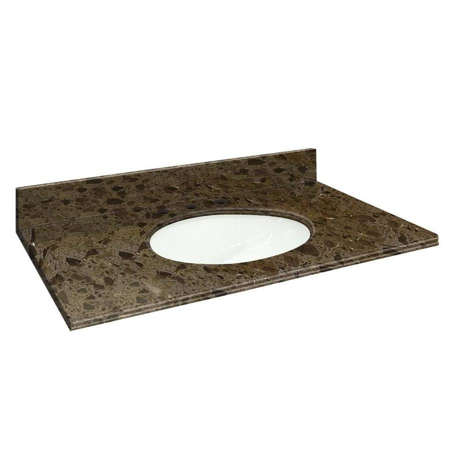 Transolid Cacao Nougat Natural Marble Undermount Single Sink Bathroom Vanity Top (Common: 25-in x 22-in; Actual: 25-in x 22.25-in)