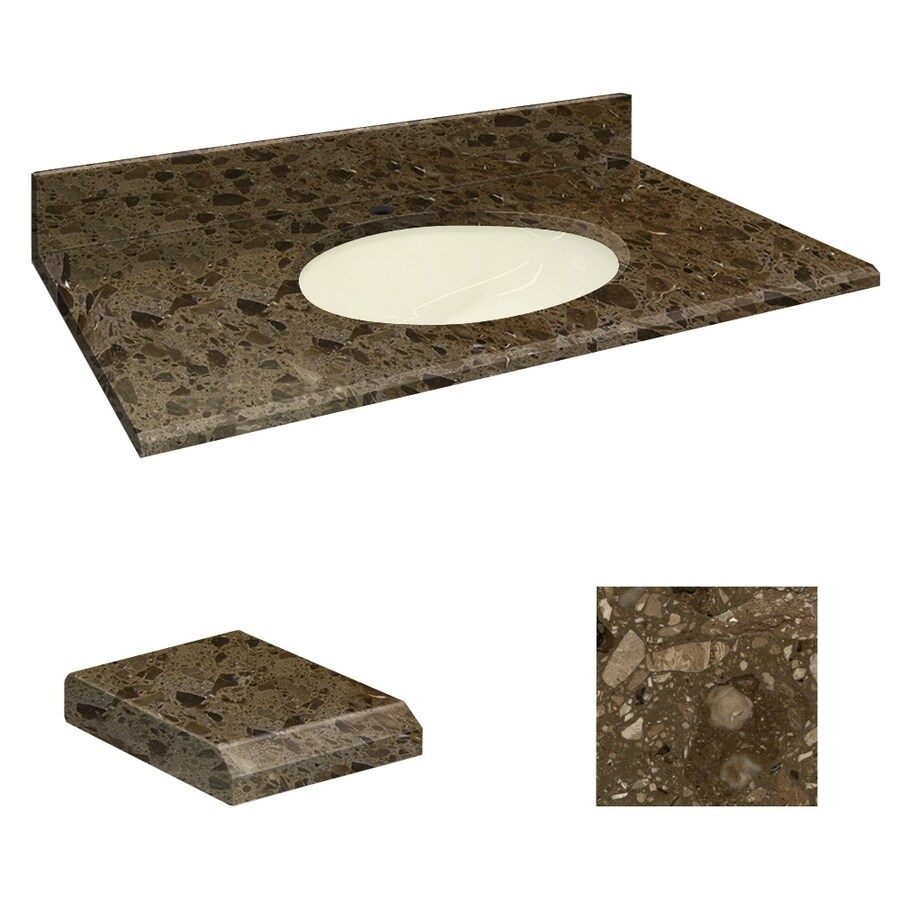 Transolid Cacao Nougat Natural Marble Undermount Single Sink Bathroom Vanity Top (Common: 25-in x 19-in; Actual: 25-in x 19.2500-in)