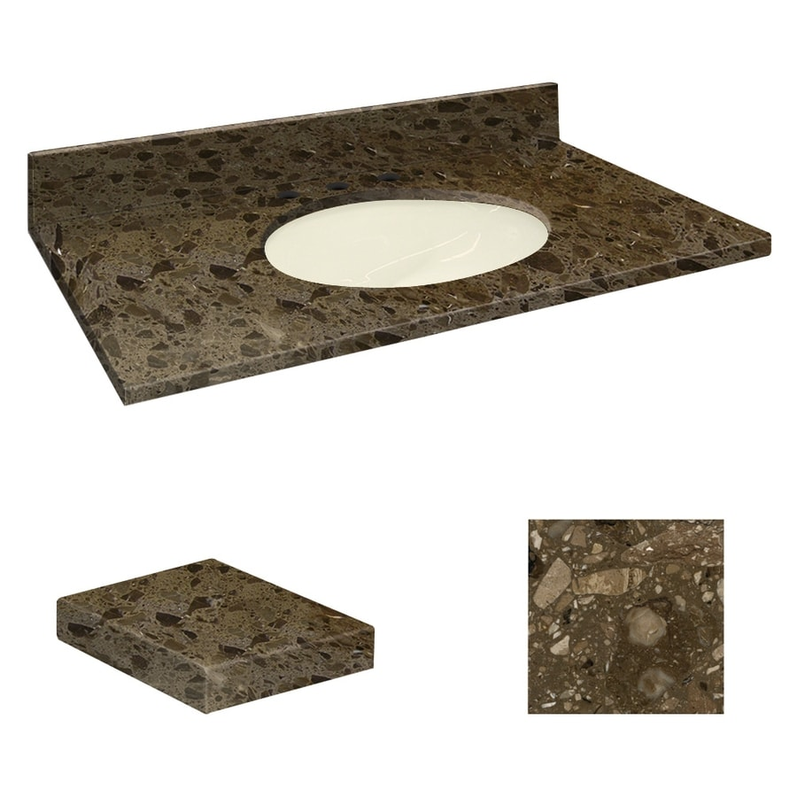 Transolid Cacao Nougat Natural Marble Undermount Single Sink Bathroom Vanity Top (Common: 37-in x 19-in; Actual: 37-in x 19.2500-in)