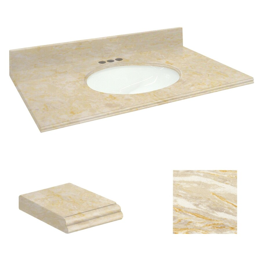 Transolid Oman Beige Natural Marble Undermount Single Sink Bathroom Vanity Top (Common: 37-in x 22-in; Actual: 37-in x 22.25-in)