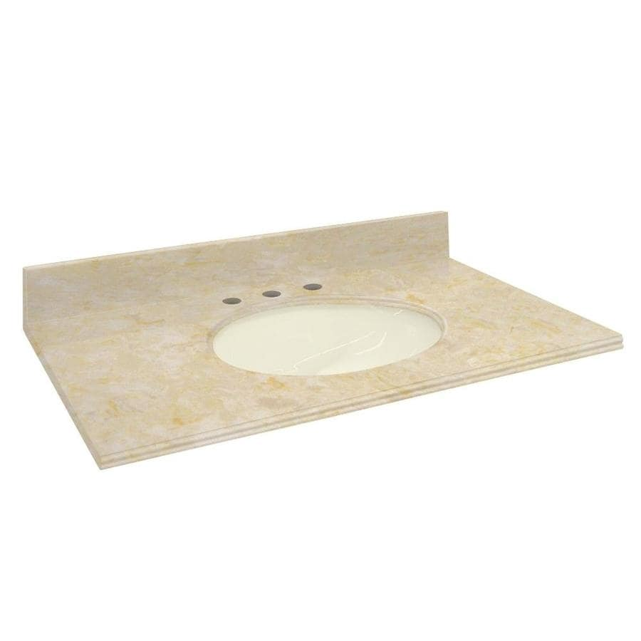 Transolid Oman Beige Natural Marble Undermount Single Sink Bathroom Vanity Top (Common: 31-in x 22-in; Actual: 31-in x 22.2500-in)