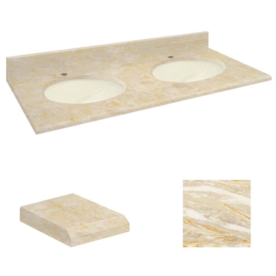 Transolid Oman Beige Natural Marble Undermount Double Sink Bathroom Vanity Top (Common: 61-in x 22-in; Actual: 61-in x 22.25-in)