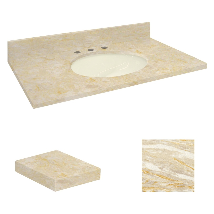 Transolid Oman Beige Natural Marble Undermount Single Sink Bathroom Vanity Top (Common: 43-in x 22-in; Actual: 43-in x 22.2500-in)