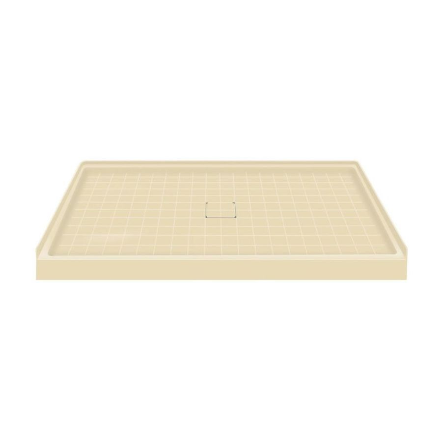 Transolid Almond Solid Surface Shower Base (Common: 60-in W x 36-in L; Actual: 60-in W x 36-in L) with Center Drain