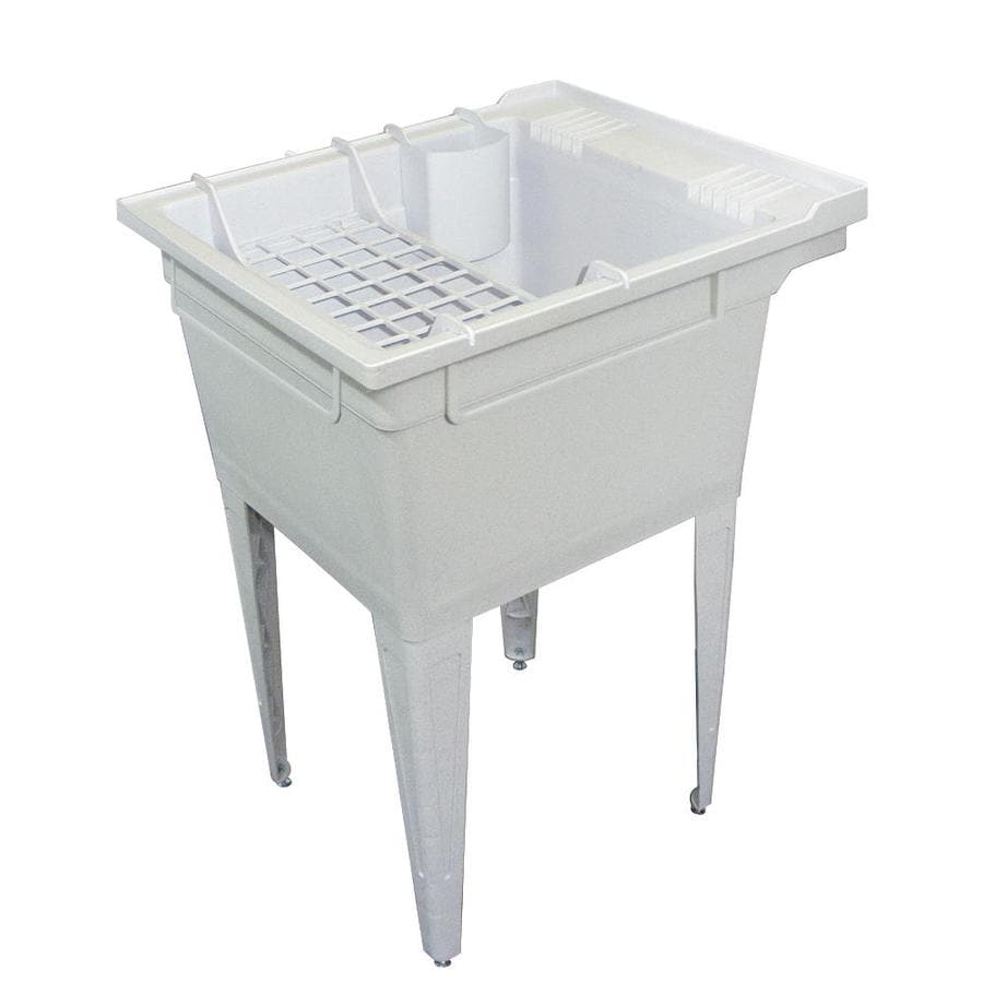 ... in 1-Basin Gray Freestanding Polypropylene Tub Utility Sink with Drain