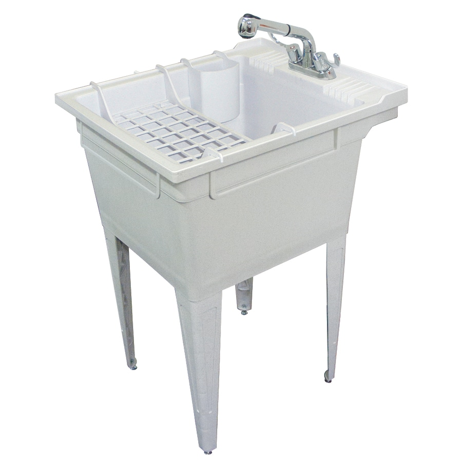 Transolid 22 375 In X 26 1 Basin Gray Freestanding Polypropylene Utility Tub With Drain And Faucet