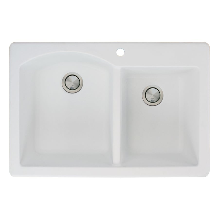 Transolid Aversa 22-in x 33-in White Double-Basin Granite Drop-In 1-Hole Residential Kitchen Sink