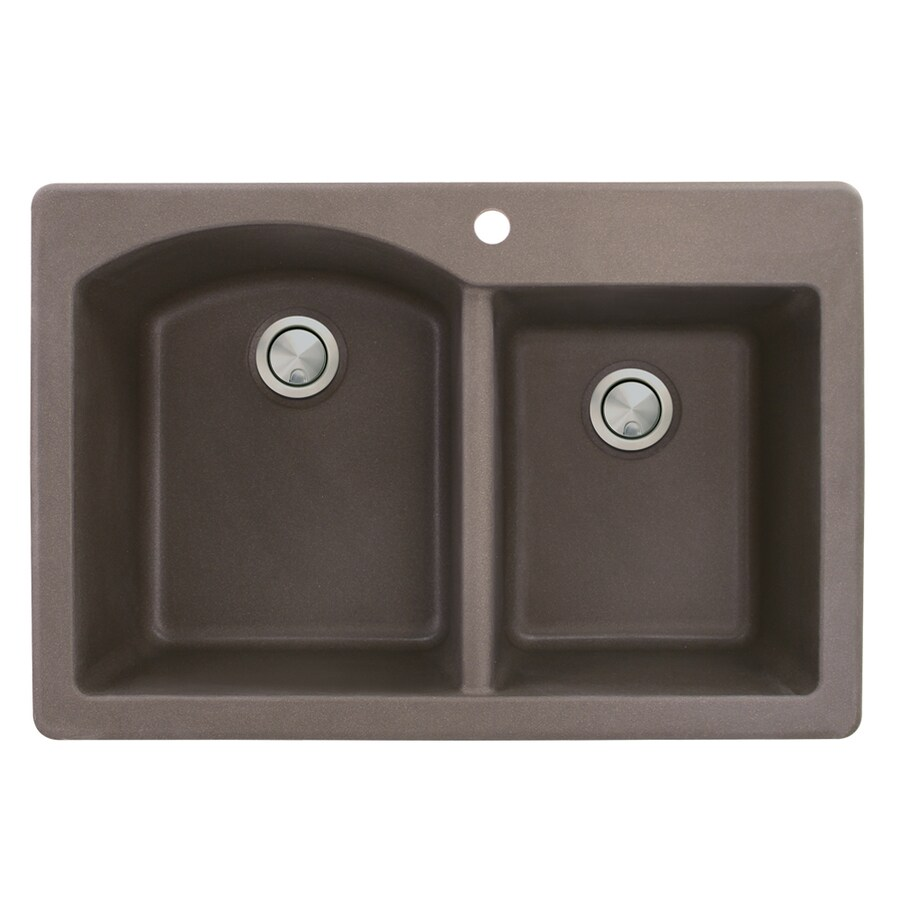 Transolid Aversa 22-in x 33-in Espresso Single-Basin-Basin Granite Drop-in 1-Hole Residential Kitchen Sink