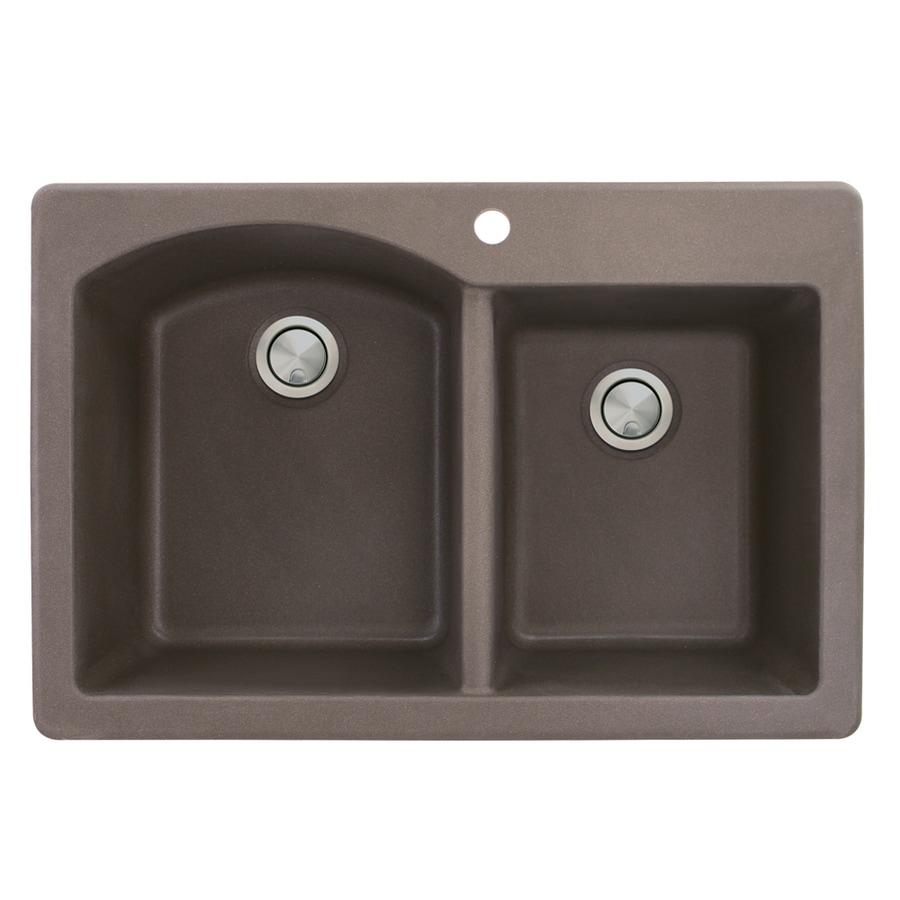 Transolid Aversa 22-in x 33-in Espresso Double-Basin Granite Drop-in 1-Hole Residential Kitchen Sink