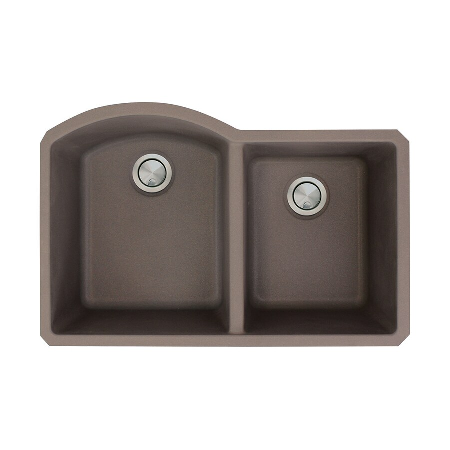 Transolid Aversa 20.5-in x 31.5-in Espresso Double-Basin Granite Undermount Residential Kitchen Sink