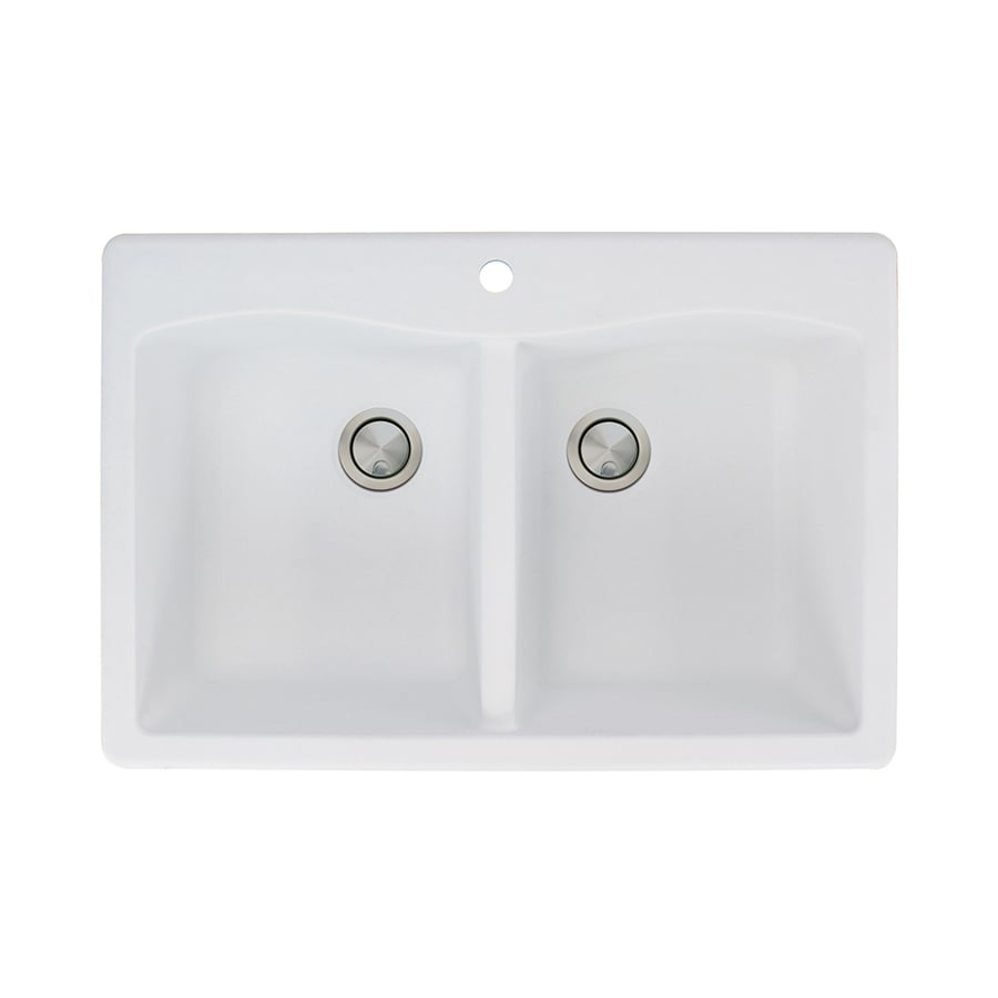 Transolid Aversa 22-in x 33-in White 2 Granite Drop-in 1-Hole Residential Kitchen Sink