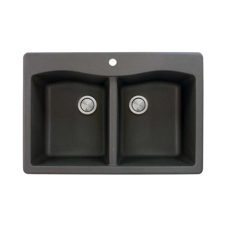 Transolid Aversa 22-in x 33-in Black Double-Basin Granite Drop-In 1-Hole Residential Kitchen Sink
